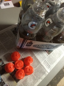 Save those empty sports bottles to store your leftover paint. I like these gatorade ones, with an easy open/close cap. T