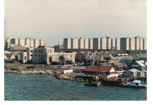 View from the Cross Bay Bridge, 1988. There's the old Pier 92 (now Bungalow Bar) and Bridge Cafe (now Thai Rock).